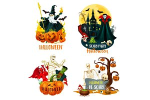 Halloween scary monsters and villain