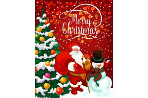 Christmas greeting, tree and Santa