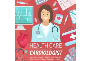 Cardiologist doctor with heart, ecg