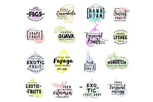 Exotic fruit lettering on fruits