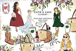 Cute Chic Fashion Girl PNG Clipart