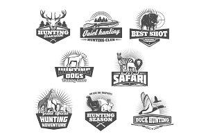 Hunting club, animals and gun icons