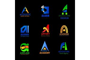 Modern letter A business icons