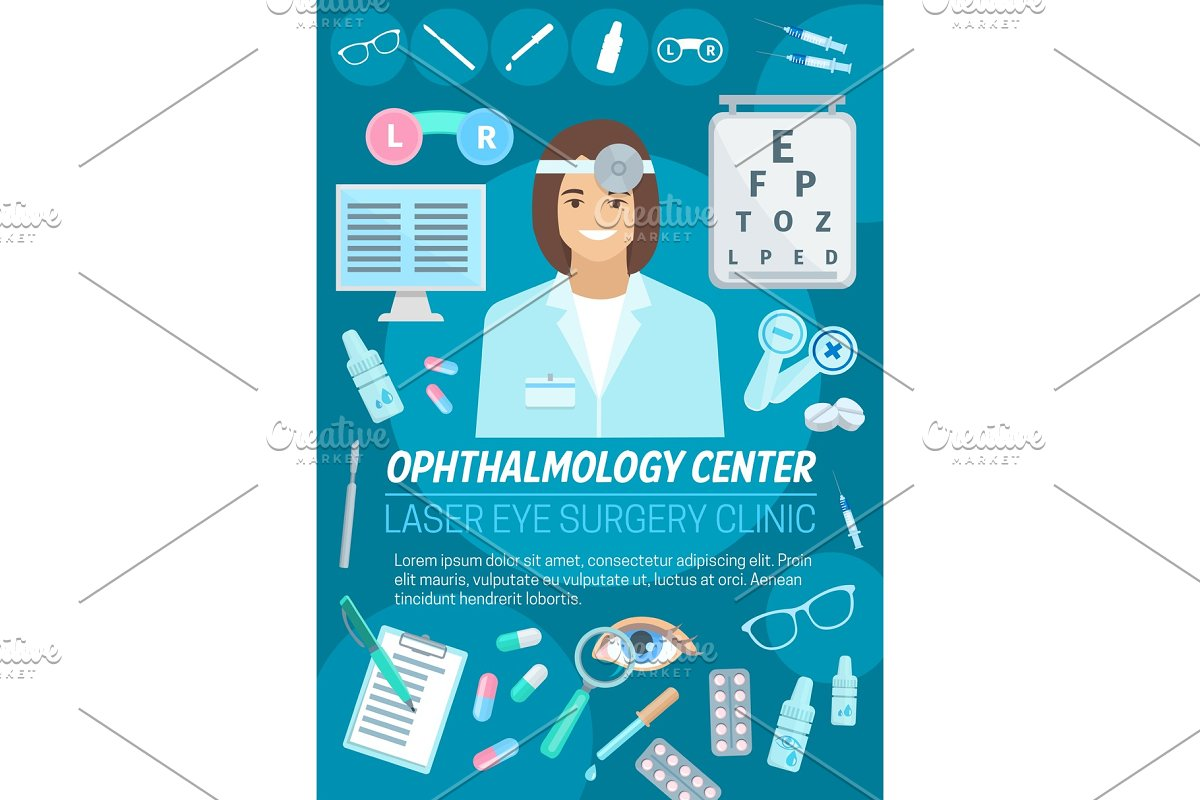 1fbe8e93ddf5 Ophthalmologist, lens and glasses ~ Illustrations ~ Creative Market