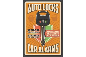 Car alarm security, auto lock key
