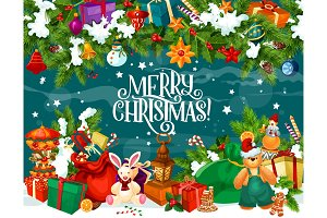 Merry Christmas boxes and toys