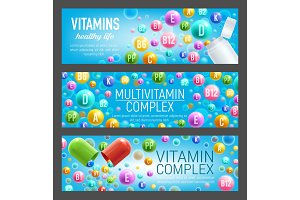 Vitamin and mineral pills banners