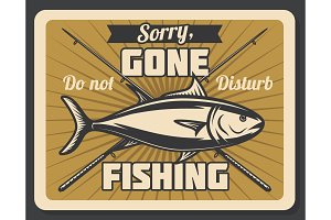 Fish and crossed fishing rods poster