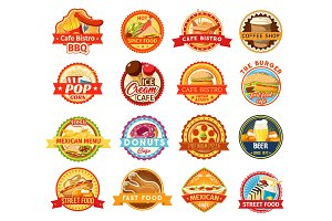 Fast food snacks and drink icons