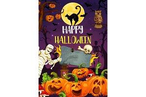 Halloween pumpkin, monsters, mummy