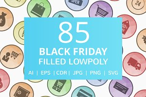 85 Black Friday Filled Low Poly Icon