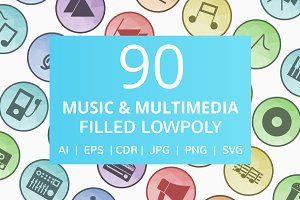 90 Music & Multimedia Low Poly Icons
