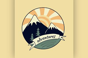 Colored vintage adventure label 4