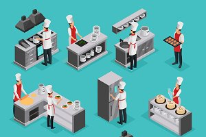 Isometric Cooking Elements Set
