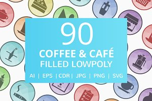 90 Coffee & Cafe Filled LowPoly Icon