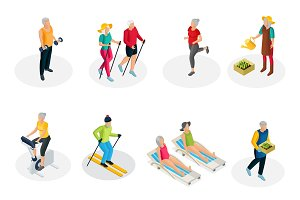 Isometric Pensioner Life Collection