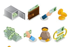Isometric Cash Icons Set