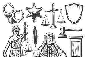 Vintage Judicial System Elements Set