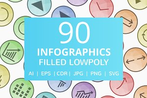 90 Infographics Filled LowPoly Icons