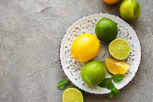 Plate with lemons and limes