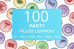 100 Party Filled Low Poly Icons