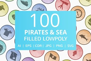 100 Pirate & Sea Filled LowPoly Icon