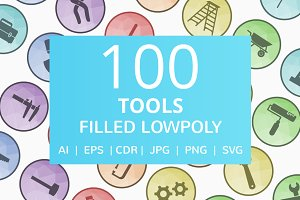 100 Tools Filled Low Poly Icons