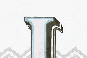 Capital letter I vintage typography