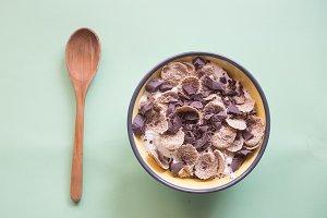 Yogurt with black chocolate and inte