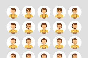 Warehouse worker emoticons set