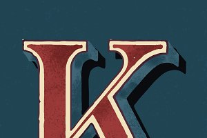 Capital letter K vintage typography