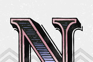 Capital letter N vintage typography