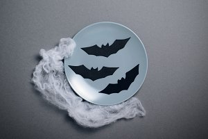 Top View of Halloween Plate with Bat
