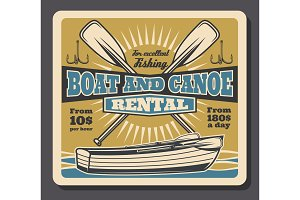Fishing boat and paddles rental