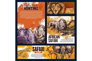 African safari animals vector sketch