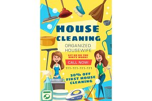 House cleaning service vector poster