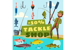 Fishing shop tackles cartoon vector