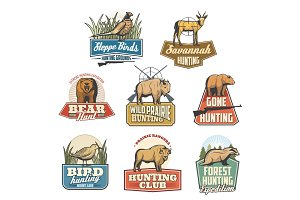 Hunting sport vector isolated icons