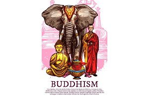 Buddha, monk, vase and elephant
