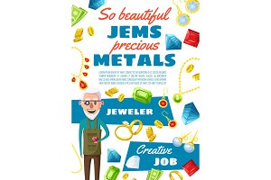 Jeweler profession, gems and jewels