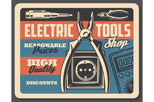 Electric tools shopvector signboard