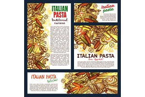 Italian pasta and lasagna, vector