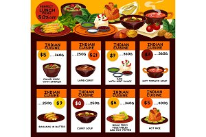 Indian cuisine dishes lunch menu