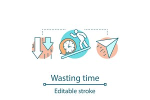 Wasting time concept icon