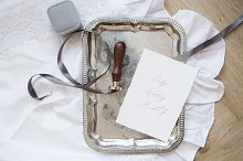 Vintage Silver Tray Wedding Mock Up
