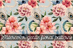 Watercolor gentle floral patterns