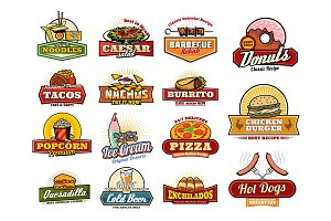 Mexican, Asian fast food snack icons