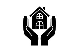 Affordable housing glyph icon