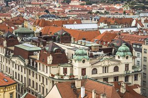 Aerial view of the roofs of Prague