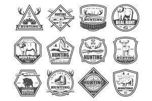 Forest and African hunt club icons